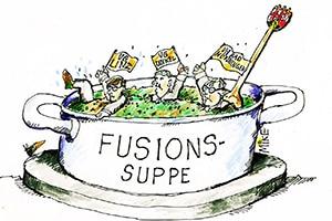 karikatur fusionssuppe - Zeitungskarikaturen